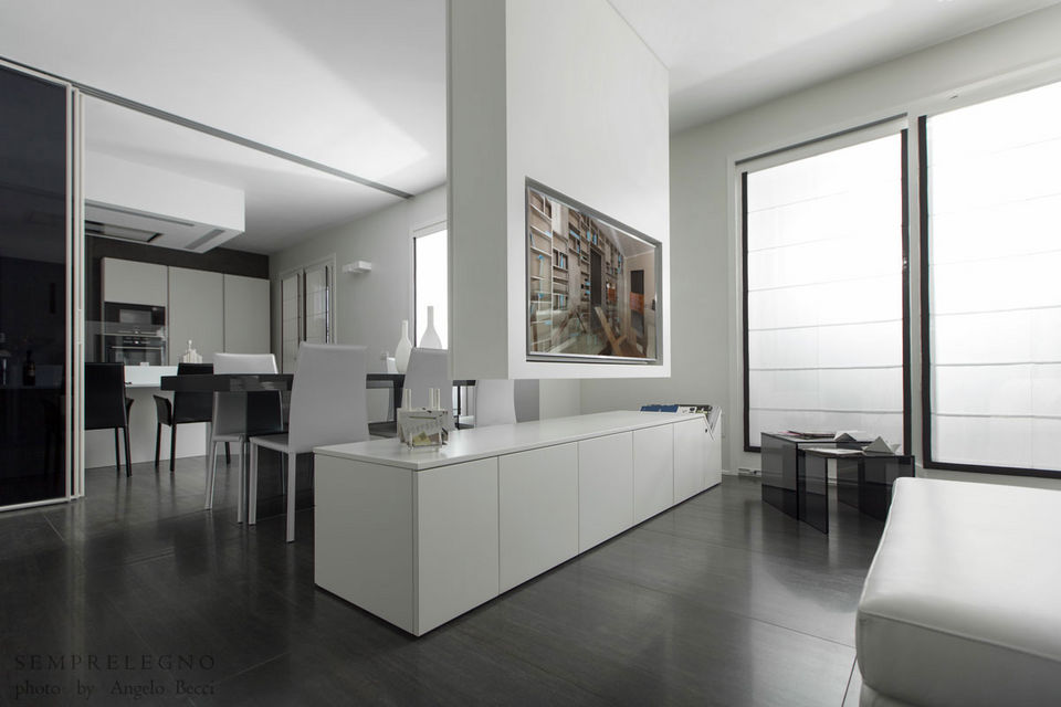 Mobili open space e Sistema TV a soffitto con automatismo